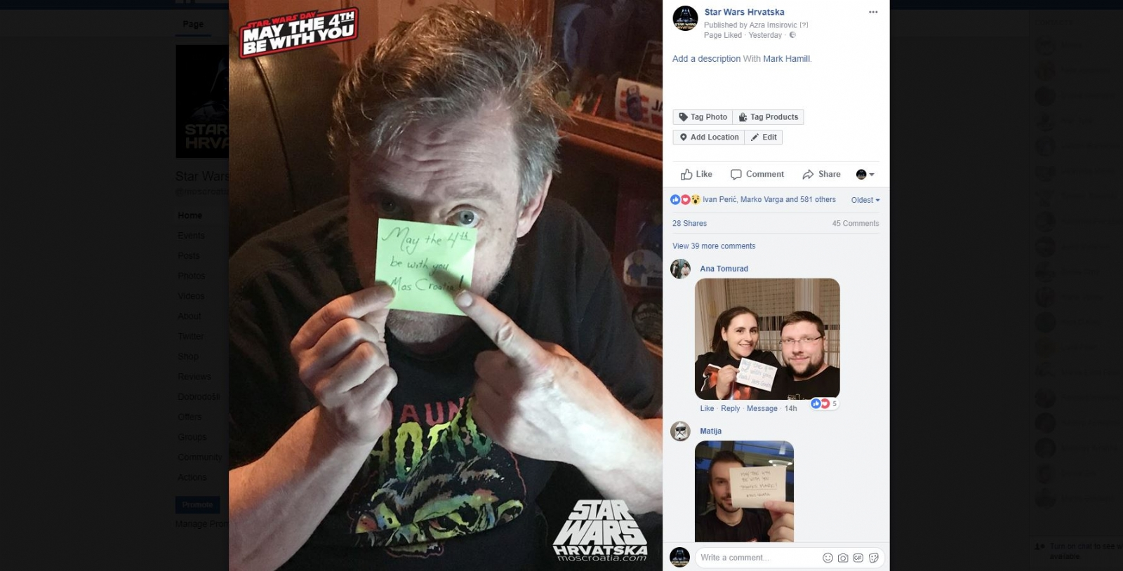 Mark Hamill čestitao May the 4th udruzi Star Wars fanova u Hrvatskoj